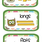 Owl Math Supply Labels