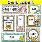 Labels - Owl Theme - 100 Editable Labels for Jobs, Binders