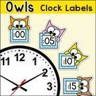 Labels - Owl Theme Clock Labels and Student Worksheets - B