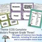 Owl Theme Grade Three CCSS Complete Vocabulary Program