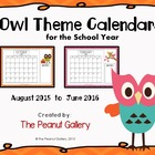 Owl Theme School Year Calendars (August 2013 to June 2014)