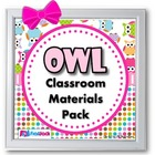Owl Themed Classroom Materials Pack