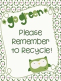 "Owl Themed Recycling ""Go Green"" Poster"
