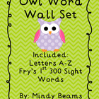 Owl Word Wall Set - Fry's First 300 Sight Words