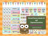 Owl and Chevron Calendar Set and Classroom Decorations {Sp