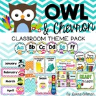 Owl and Chevron Classroom Theme Pack {Editable}