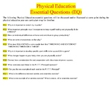 PE Essential Questions (EQ) and Vocabulary Word Wall