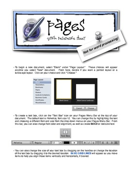Pages QuickSheet {A Little Cheat Sheet for Apple's PAGES Program}