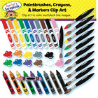 Paintbrushes Crayons and Markers Clip Art