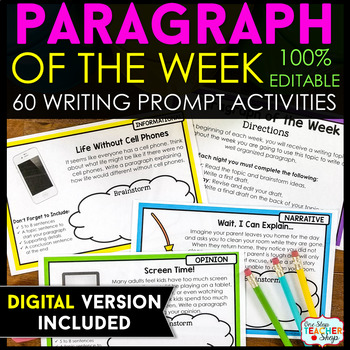 Paragraph of the Week: ENTIRE YEAR } Writing Homework, Literacy Centers, etc.