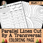 Parallel Lines Cut by a Transversal Coloring Worksheet