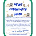Parent Communication Log Binder