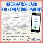 Parent Contact Information Card