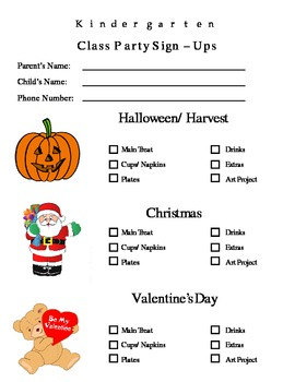 Parent Letter: Classroom Holidays and Party Sign - Up Sheet