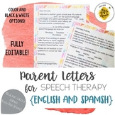 Parent Letters for Speech Therapy in English & Spanish