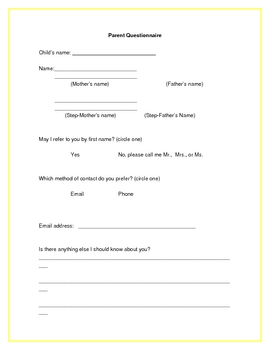 Parent Questionnaire - Open House / Back to School Form