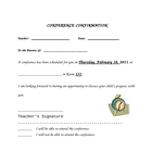 Parent/Teacher Conference Confirmation Sheet
