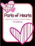 Parts of Hearts: Valentine Fraction Word Problem FREEBIE