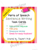 Parts of Speech Sentence Writing Task Cards - Grammar Prac
