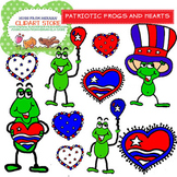 Patriotic Frogs and Hearts Cliparts Set for Personal and C