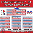 Patriotic USA Themed Nameplate/Deskplate/Nametags