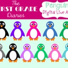 Penguin {Digital Clip Art} Colorful Polka Dots
