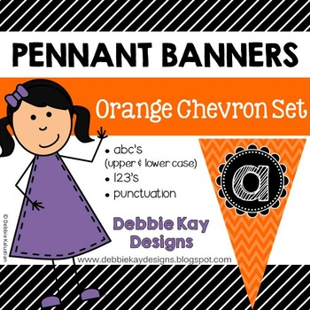 Pennant Banners Orange Chevron Set