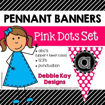 Pennant Banners Pink Dots Set