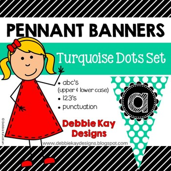 Pennant Banners Turquoise Dot Set