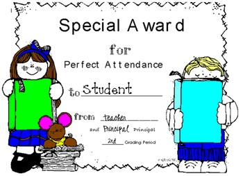Perfect Attendance (Quarterly) Award Certificate