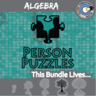 Person Puzzle: Algebra Complete eBook - 32 Topics, 32 Worksheets