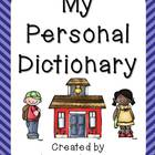 Personal Dictionary - Printable