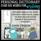 Personal Writer's Dictionary With Choice Of 5 Covers