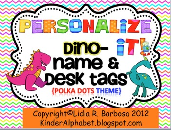 Personalize it! Colorful Dino Name and Desk Tags