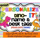 Personalize it! Dino Name and Desk Tags -SPANISH