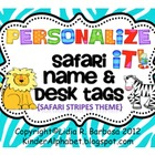 Personalize it! Wild Safari theme Name and Desk Tags