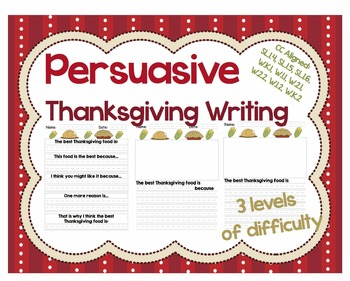 Thanksgiving Persuasive / Opinion Writing for CC W.1 W.2