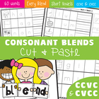 Phonics - Consonant Blends Cut and Paste Worksheets ccvc and cvcc