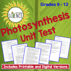 Photosynthesis (Biology) Unit Test