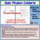 Phylum Cnidaria (hydra, jellyfish) quiz or homework