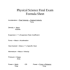 Physical Science Final Exam Formula Sheet
