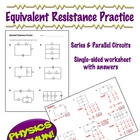 Physics - Equivalent Resistance Practice - 1 page worksheet