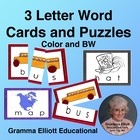 Picture Word Puzzles - 3 letter Words Pre K-1 - Color and