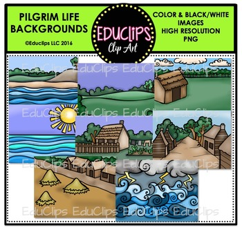 Pilgrim Life Backgrounds Clip Art Bundle