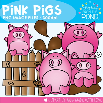 Pink Pigs - Clipart - Graphics From the Pond