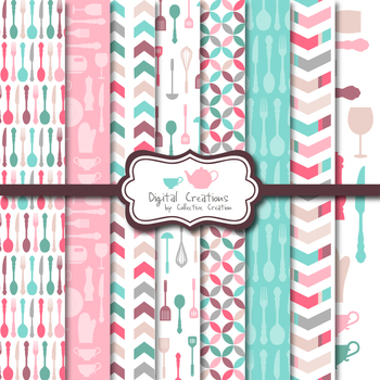 Pink and Blue Kitchen Digital Paper Background set