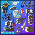 Pirate Doodles clip art (BW and full-color PNG images)