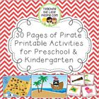 Pirate Printable Activities for Preschool and Kindergarten