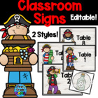 Pirate Table Signs