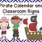 Pirate and Chevron Calendar and Classroom Sign Super Pack